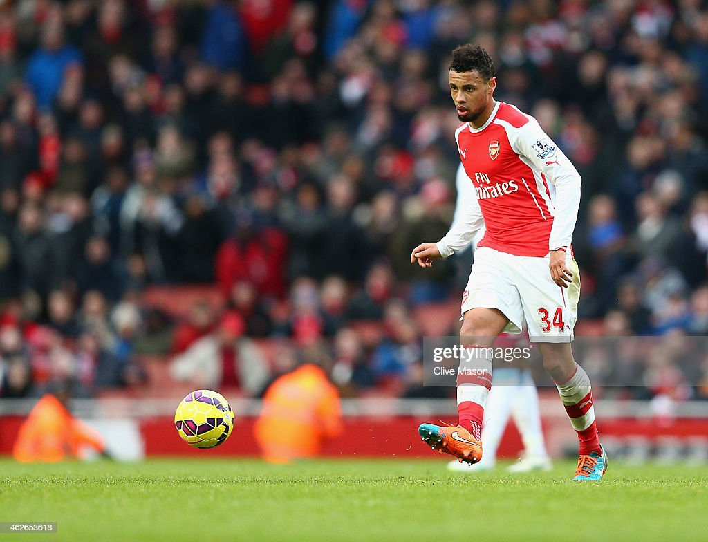 Francis Coquelin of Arsenal in action during the Barclays Premier League match between Arsenal and Aston Villa at Emirates Stadium on February 1 2015...