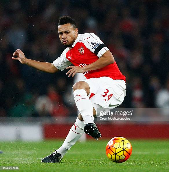 Francis Coquelin of Arsenal in action during the Barclays Premier League match between Arsenal and Everton at Emirates Stadium on October 24 2015 in...