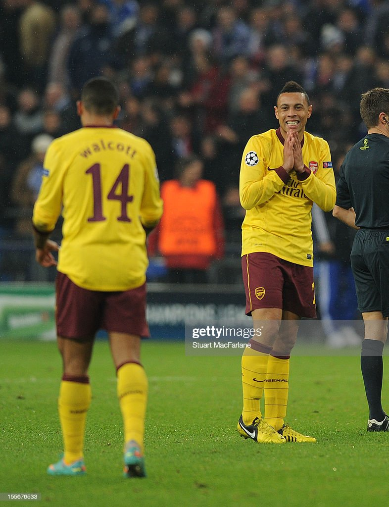 Francis Coquelin of Arsenal looks back at Theo Walcott (L) after a last minute goal scoring opportunity was missed during the UEFA Champions League Group B match between FC Schalke 04 and Arsenal FC at the Veltins-Arena on November 6, 2012 in Gelsenkirchen, Germany.