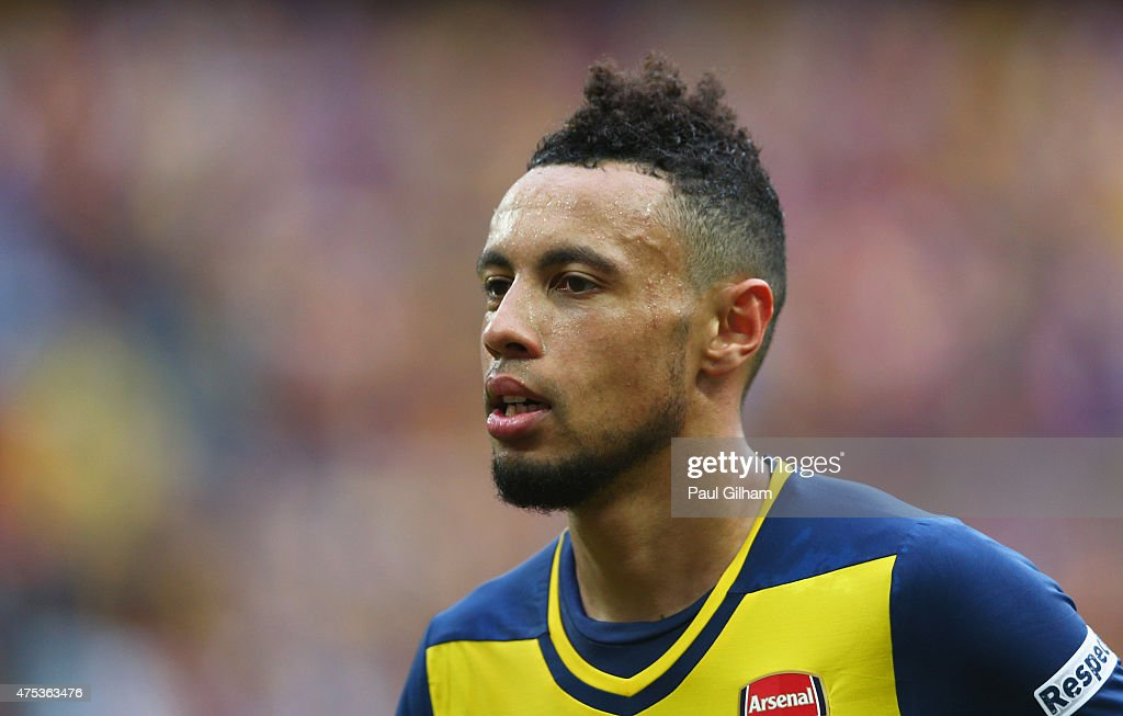 Francis Coquelin of Arsenal looks on during the FA Cup Final between Aston Villa and Arsenal at Wembley Stadium on May 30 2015 in London England