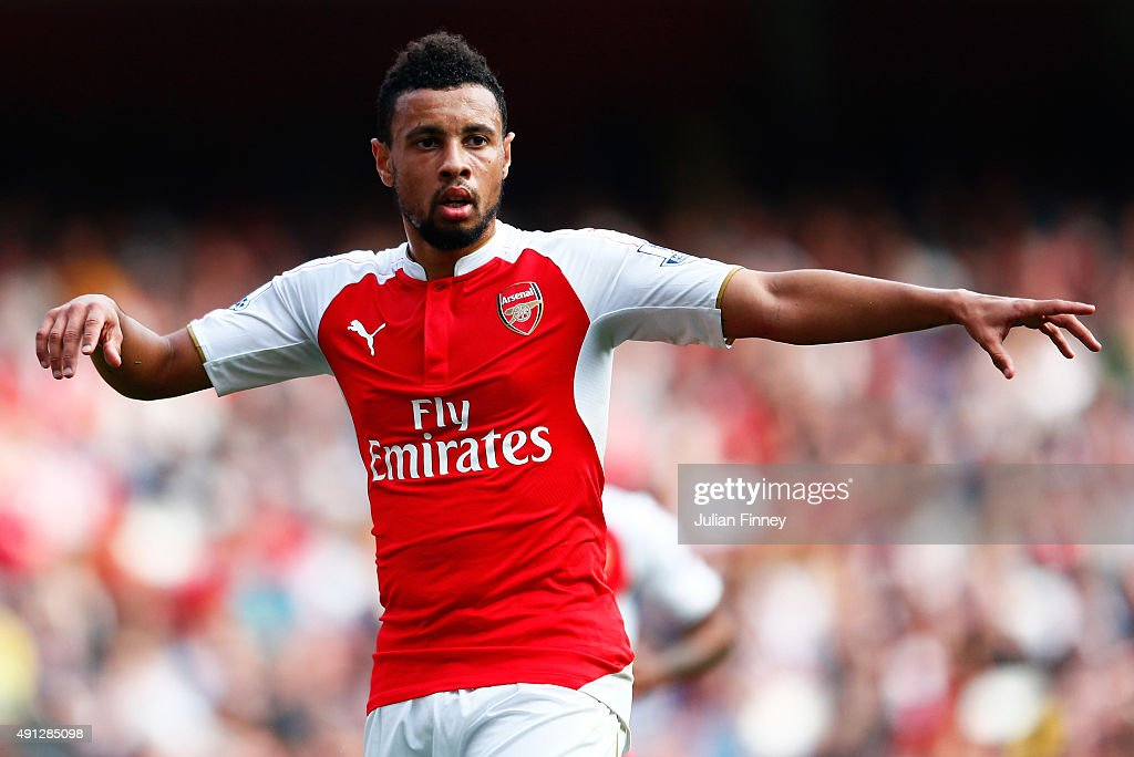 <a gi-track='captionPersonalityLinkClicked' href=/galleries/search?phrase=Francis+Coquelin&family=editorial&specificpeople=8957797 ng-click='$event.stopPropagation()'>Francis Coquelin</a> of Arsenal reacts during the Barclays Premier League match between Arsenal and Manchester United at Emirates Stadium on October 4, 2015 in London, England.