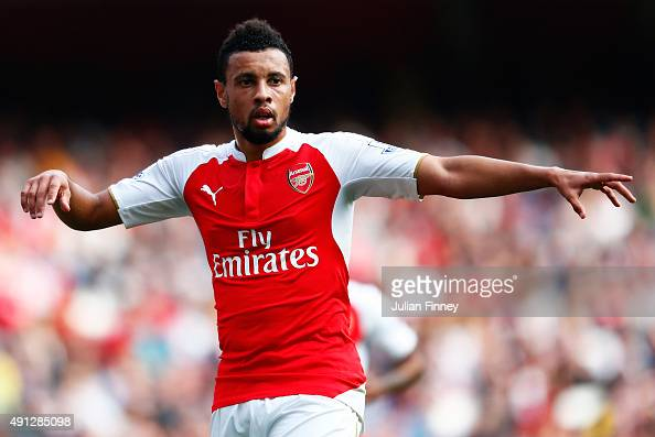 Francis Coquelin of Arsenal reacts during the Barclays Premier League match between Arsenal and Manchester United at Emirates Stadium on October 4...