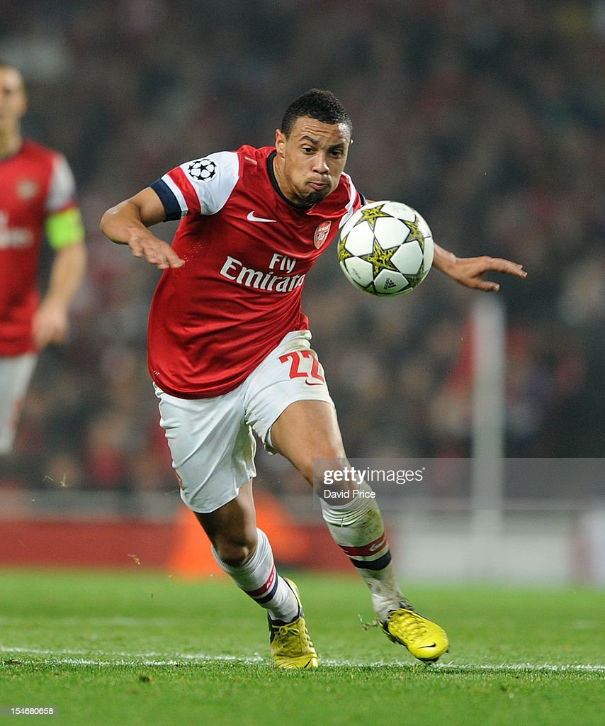 Francis Coquelin of Arsenal runs with the ball during the UEFA Champions League Group B match between Arsenal FC and FC Schalke 04 at Emirates Stadium on October 24, 2012 in London, England.