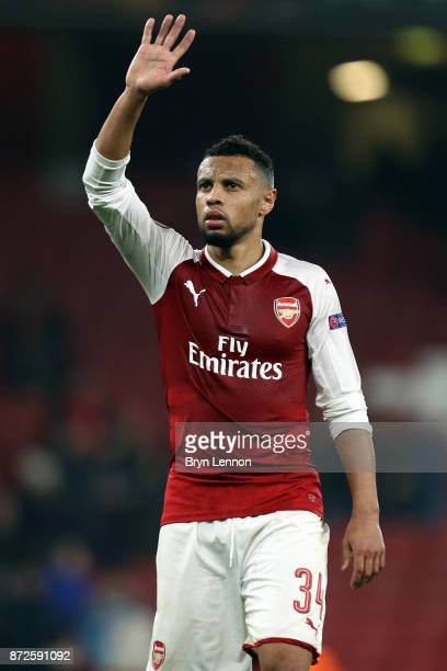 Francis Coquelin of Arsenal waves after the UEFA Europa League group H match between Arsenal FC and Crvena Zvezda at Emirates Stadium on November 2...