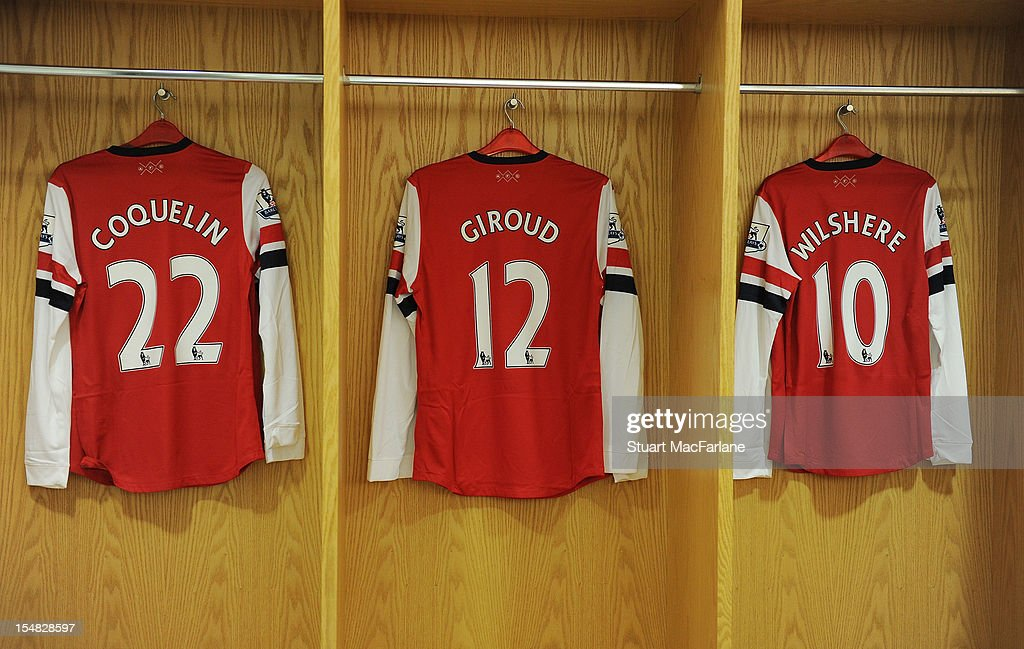 Francis Coquelin, Olivier Giroud and Jack Wilshere's shirts in the Arsenal changing room before the Barclays Premier League match between Arsenal and Queens Park Rangers at Emirates Stadium on October 27, 2012 in London, England.