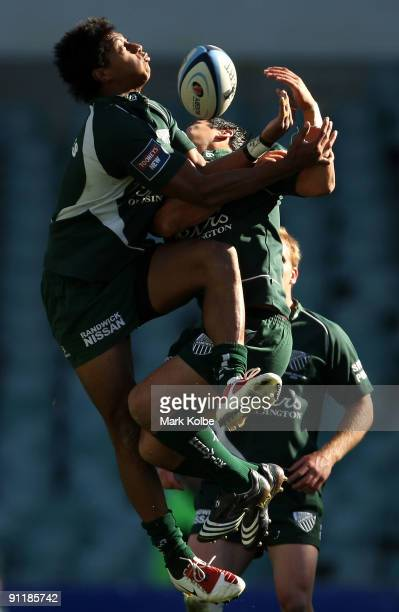 Francis Fainifo of Randwick tries to secure the high ball during the Shute Shield Grand Final match between Sydney University and Randwick at Sydney...