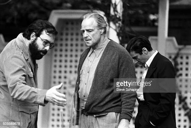 Francis Ford Coppola directs Marlon Brando and Al Pacino in The Godfather
