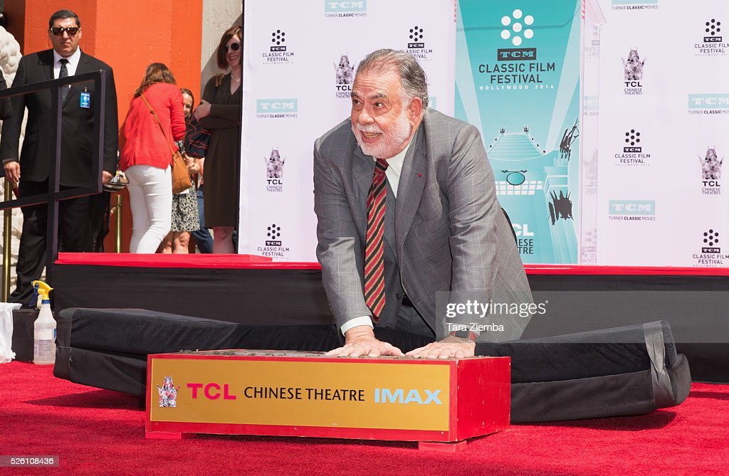 <a gi-track='captionPersonalityLinkClicked' href=/galleries/search?phrase=Francis+Ford+Coppola&family=editorial&specificpeople=204241 ng-click='$event.stopPropagation()'>Francis Ford Coppola</a> make a handprint during the Hand/Footprint Ceremnoy by TCM at TCL Chinese Theatre IMAX on April 29, 2016 in Hollywood, California.