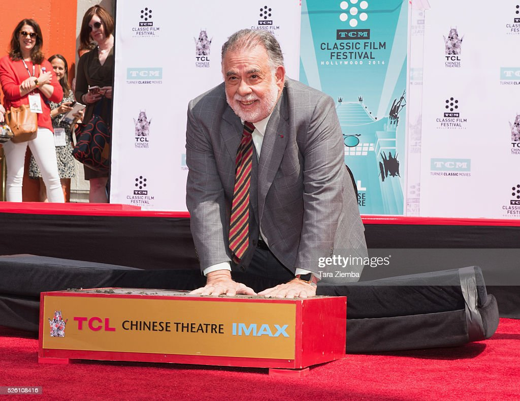 <a gi-track='captionPersonalityLinkClicked' href=/galleries/search?phrase=Francis+Ford+Coppola&family=editorial&specificpeople=204241 ng-click='$event.stopPropagation()'>Francis Ford Coppola</a> makes a handprint during the Hand/Footprint Ceremony by TCM at TCL Chinese Theatre IMAX on April 29, 2016 in Hollywood, California.