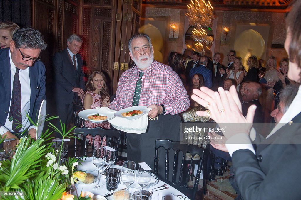 Francis Ford Coppola serves pasta for the Dinner hosted by Dior as part of Marrakech 15th International Film Festival at Hotel Royal Mansour on...