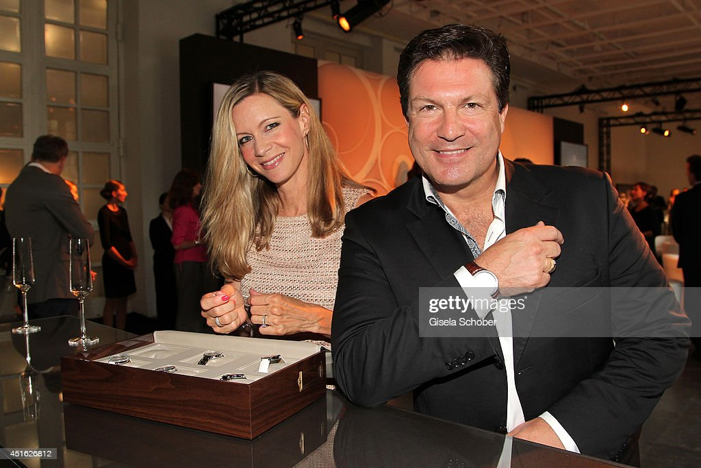 Francis Fulton Smith and his wife Verena Klein attend the presentation of the Baume & Mercier 'Promesse' Ladies Collection at Haus der Kunst on July 2, 2014 in Munich, Germany.
