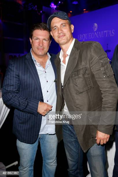 Francis FultonSmith and Ralf Bauer attend the Arqueonautas Presents Kevin Costner Music Meets Fashion at Spindler Klatt on July 08 2014 in Berlin...