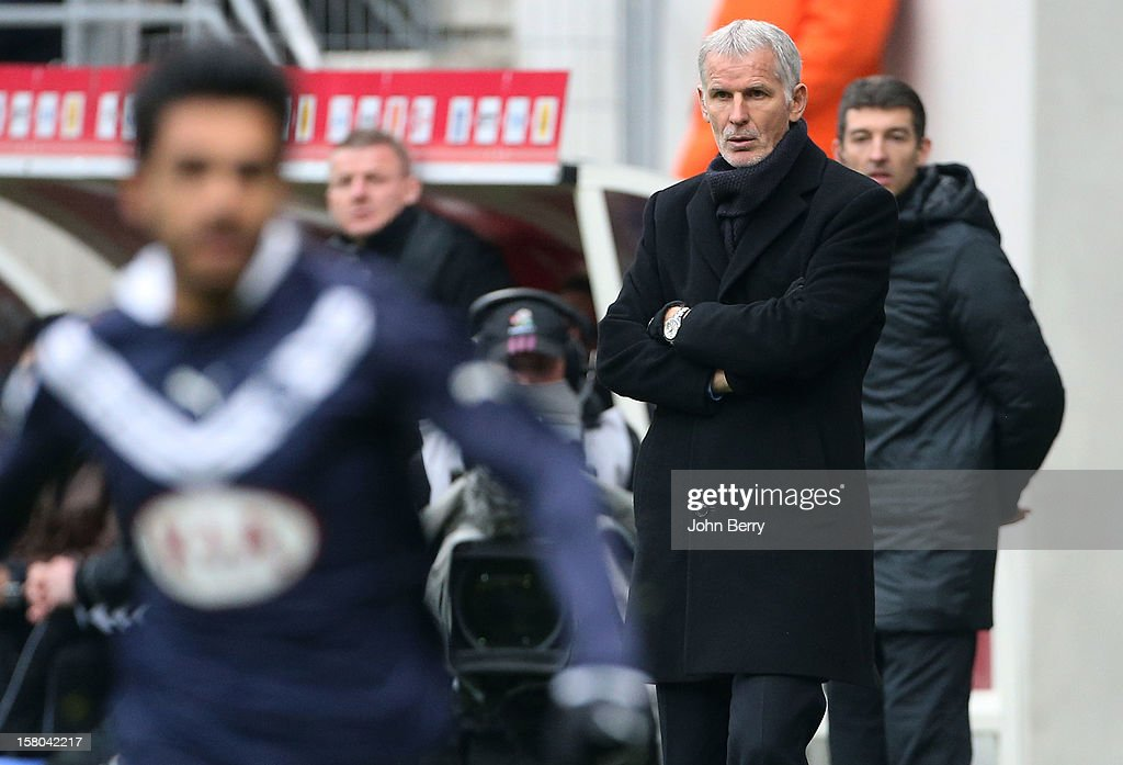 Francis Gillot, coach of Bordeaux looks on during the French Ligue 1 match between Stade de Reims and Girondins de Bordeaux at the Stade Auguste Delaune on December 9, 2012 in Reims, France.