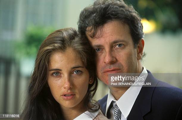 Francis Huster and fiancee Cristiana Reali at the Deauville Film Festival in Deauville France on September 05 1994