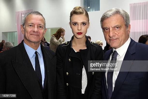 Francis Huster Gaia Weiss and Dior CEO Sidney Toledano attend the Christian Dior Spring / Summer 2013 show as part of Paris Fashion Week on September...