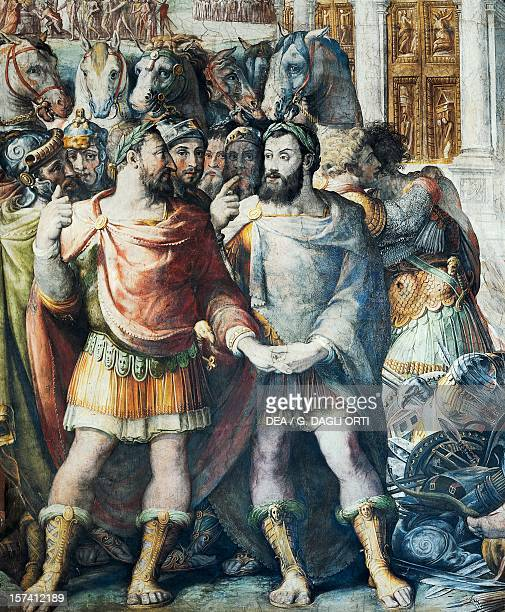 Francis I and Charles V during the Truce of Nice detail from History of the Pontificate of Paul III Farnese 15531563 fresco by Cecchino Salviati...