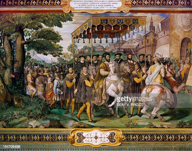 Francis I welcoming Charles V and the Cardinal Alessio Farnese in Paris by Taddeo Zuccari Palazzo Farnese Caprarola Italy 16th century