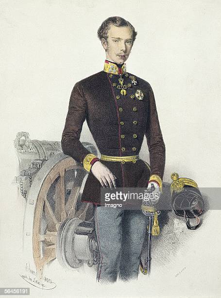 Francis Joseph as colonel of the field artillery regiment number 1 Colour Lithography by Eduard Kaiser around 1855 [Kaiser Franz Joseph als...
