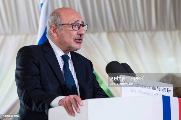 Francis Kalifat president of the Representative Council of France's Jewish Associations delivers a speech during a ceremony commemorating the 75th...