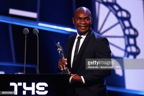 Francis Kone accepts the Fair Play Award during The Best FIFA Football Awards at The London Palladium on October 23 2017 in London England