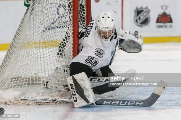 Francis Leclerc of the BlainvilleBoisbriand Armada makes a blocker save against the Gatineau Olympiques on October 13 2017 at Robert Guertin Arena in...