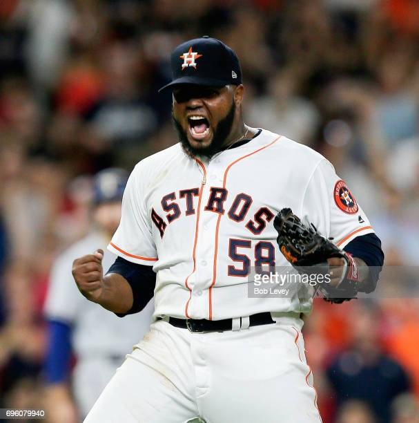 Francis Martes of the Houston Astros reacts after striking out Nomar Mazara of the Texas Rangers in the fifth inning at Minute Maid Park on June 14...