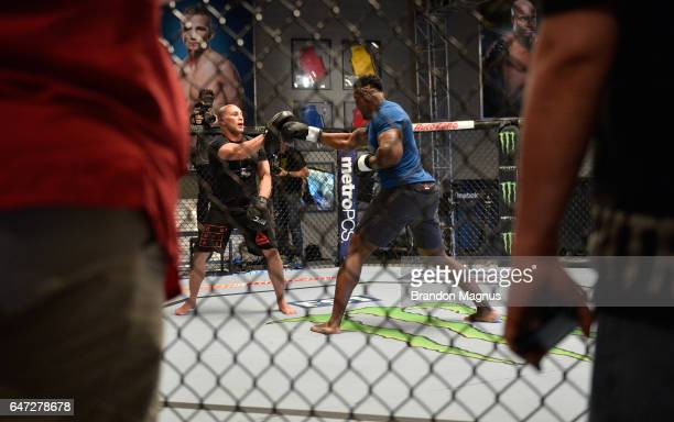 Francis Ngannou holds a workout with Hayder Hassan in the TUF Gym on March 2 2017 in Las Vegas Nevada
