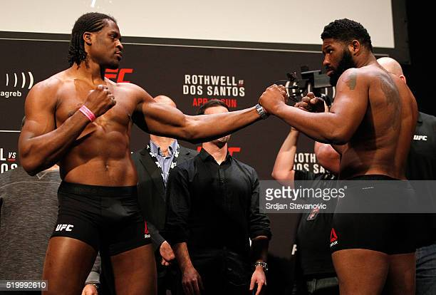 Francis Ngannou of Cameroon and Curtis Blaydes of the United States face off during the UFC Fight Night weighin at the Arena Zagreb on April 9 2016...