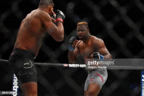 Francis Ngannou of France battles Alistair Overeem of the Netherlands during UFC 218 at Little Ceasars Arena on December 2 2018 in Detroit Michigan