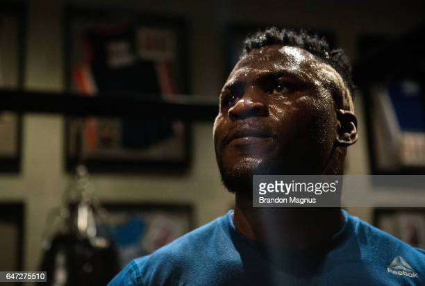 Francis Ngannou of France holds a open workout for the media in the TUF Gym on March 2 2017 in Las Vegas Nevada