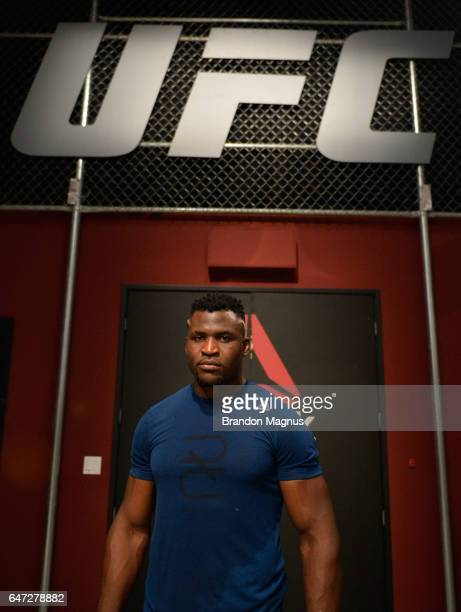 Francis Ngannou poses for a portrait in the TUF Gym on March 2 2017 in Las Vegas Nevada