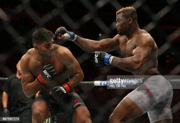Francis Ngannou punches Alistair Overeem during the UFC 218 event at Little Caesars Arena on December 2 2017 in Detroit Michigan