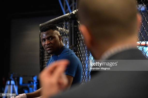 Francis Ngannou speaks to the media in the TUF Gym on March 2 2017 in Las Vegas Nevada