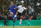 Francis Onwuzo of Germany battles for the ball with Yevgen Shevchenko of Ukraine during the U16 International friendly match between Germany and...