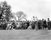 Francis Ouimet tees off during the 1941 Masters Tournament at Augusta National Golf Club on April 36 1941 in Augusta Georgia