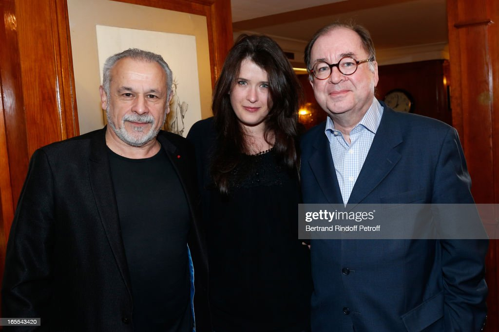 Francis Perrin, Marie Moute with Director and Writer Jacques Santamaria attend 'Mongeville TV Show : La Nuit Des Loups' Private Screening at Club 13 on April 4, 2013 in Paris, France.