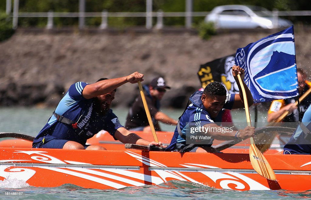 Francis Saili (R) and Charlie Faumuina (L) of the Blues compete in a Wakaama ( outrigger canoe) challenge during the 2013 Super Rugby Season Launch at the Royal Akarana Yacht Club on February 12, 2013 in Auckland, New Zealand.