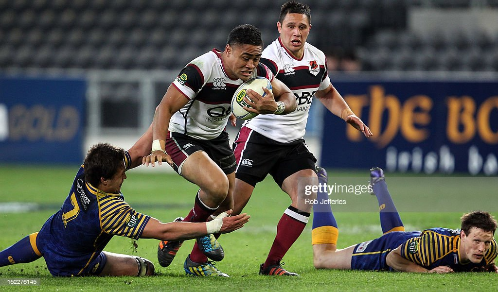 Francis Saili of North Harbour attempts to bust the Otago defence during the round eight ITM Cup match between Otago and North Harbour at Forsyth Barr Stadium on September 18, 2012 in Dunedin, New Zealand.