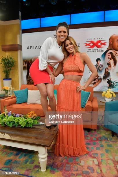 Francisca Lachapel and Ariadna Gutierrez attend Univision's 'Despierta America' on May 2 2017 in Miami Florida