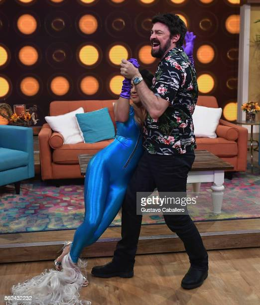 Francisca Lachapel and Karl Urban are on the set to promote the movie THOR RAGNAROK on Despierta America morning show at Univision Studios on at...