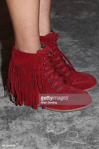 Francisca Urio shoe detail attends the holyGhost show during the MercedesBenz Fashion Week Berlin A/W 2017 at Kaufhaus Jandorf on January 17 2017 in...