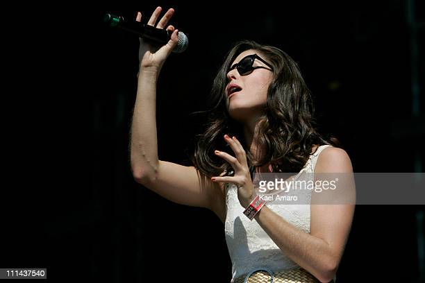 Francisca Valenzuela performs live on stage during the 2011 Lollapalooza Music Festival at OHiggins Park on Apil 2 2011 in Santiago Chile