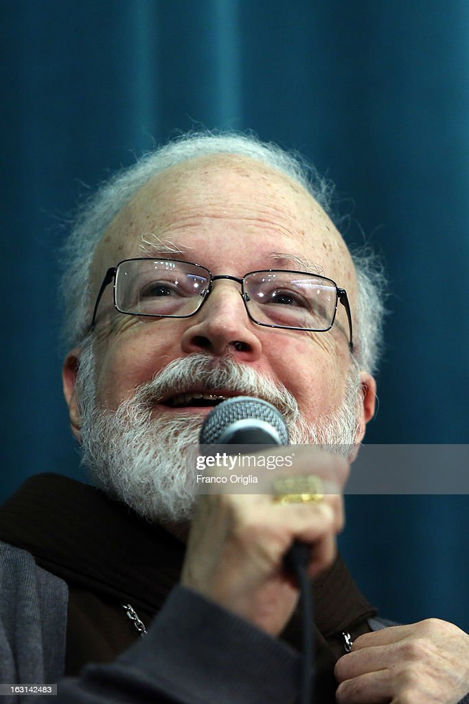 Franciscan archbischop of Boston cardinal Sean O'Malley speaks during a meeting with accreditated media at Vatican at the Pontifical North American College on March 5, 2013 in Vatican City, Vatican.