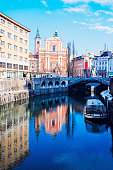 Franciscan Church, Preseren Square and The Triple Bridge. Ljubljana, Slovenia