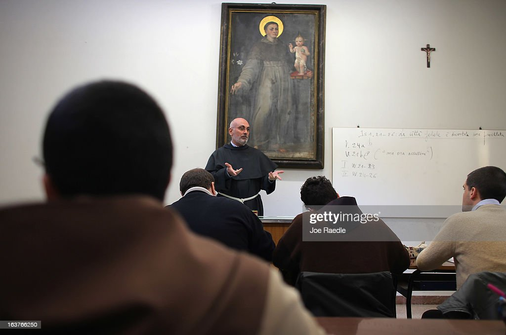 Franciscan friar Vice Dean Guglielmo Spirito teaches Franciscan friars and other theology students in a class at the St. Francis Theological Institute of Assisi which is attached to the Basilica of St. Francis of Assisi where the tomb of the Saint is located on March 15, 2013 in Assisi, Italy. Cardinal Jorge Mario Begoglio took the name Pope Francis after Saint Francis of Assisi who had renounced a life of privilege, by giving away all his possessions, wearing coarse woolen clothes and living in a humble hut after he took a vow of poverty.
