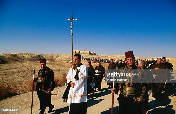 Franciscan procession, Baptism of the Lord ceremony, Qasr al Yahud near Jericho.