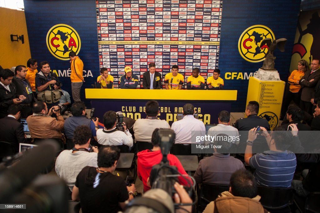 Franciscio Javier Rodriguez talks during his presentation as a new player of America Futbol Club on January 03, 2012 in Mexico City, Mexico.