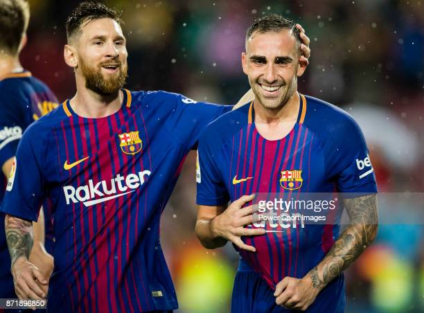 Francisco Alcacer Garcia Paco Alcacer of FC Barcelona celebrates after scoring his goal with Lionel Andres Messi of FC Barcelona during the La Liga...