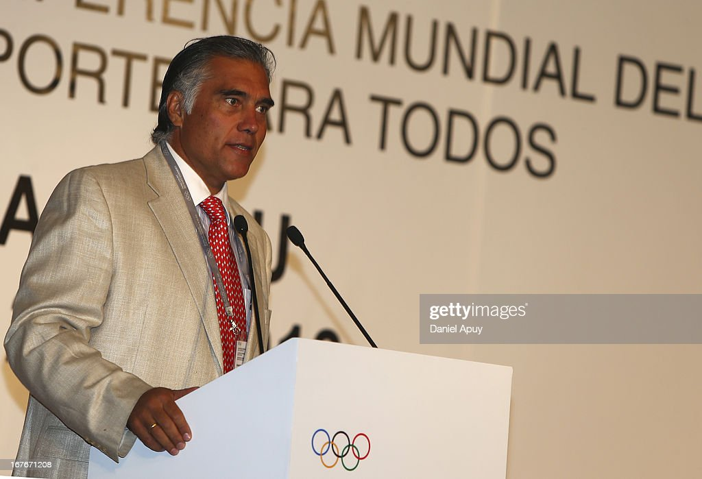 Francisco Boza, President of the Peruvian Sport Institute during the Plenary Session #3 on sports associations as part of the closing day of the 15th IOC World Conference Sports For All at the Daniel A. Carrion Conference Center on April 27, 2013 in Lima, Peru.