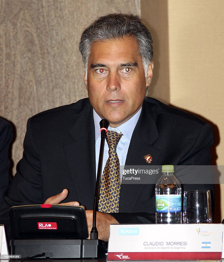 Francisco Boza talks during the presentation of the XIX Sports Minister of America and Iberoamerica Meeting Organized by CID (which stands for Consejo Iberoamericano del Deporte) at Hilton Hotel on March 18, 2013 in Lima Peru.
